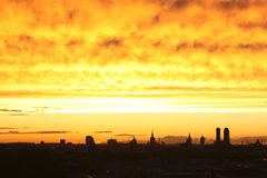 Munich glowing dusk sky Stock Photography