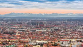 Munich historical center panoramic aerial cityscape view Royalty Free Stock Photos