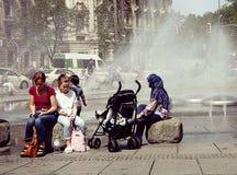 Munich, horas de verão em Karlsplatz-Stachus Fotografia de Stock