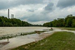 munich, isar, brudermuehlbruecke, Mai 22, 2019: storm deep axel is flooding the isar in munich stock photo