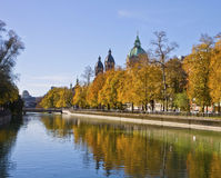 Munich Isar river banks promenade on autumn Stock Images