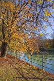Munich, Isar river promenade in city center on autumn Royalty Free Stock Image