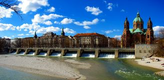 Munich - Isar river and St. Lukas Church Royalty Free Stock Photos