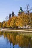 Munich, Isar river and St. Luke church Stock Images