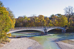 Munich, Kabelsteg bridge on Isar river Stock Image
