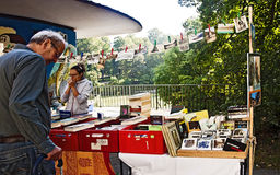 Munich  - Lisar (reading at Isar) book flea market Stock Photos