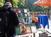 Munich 24.09.2016 - Lisar (reading at Isar) book flea market Royalty Free Stock Images