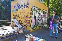 Munich 24.09.2016 - Lisar (reading at Isar) book flea market Stock Photography