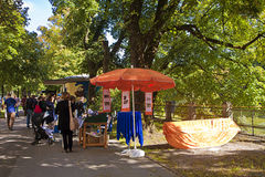 Munich 24.09.2016 - Lisar (reading at Isar) book flea market Stock Photos