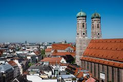 Munich, München, Scenic View from the Top of Munich City Center with Frauenkirche Towers and copy space stock images