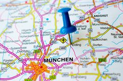 Munich on map. München on map with push pin Stock Images