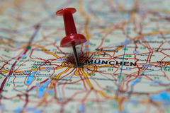 Munich on map. Macro shot of Munich map with push pin Royalty Free Stock Photography