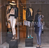 MUNICH - MARCH 14 2012: Emporio Armani shop. MUNICH - MARCH 14:The window of Emporio Armani shop in Theatinerstrasse in Munich, Germany presents the new trends stock images