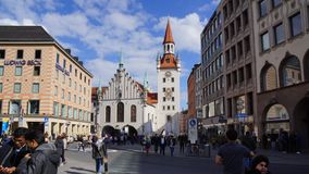 Munich Marienplatz Bavaria old town hall watchtower royalty free stock photos