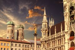 Munich Marienplatz, in dramatic light Stock Photos