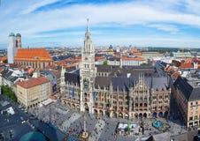 Munich Marienplatz. Panorama view over the Marienplatz and new town hall (Neues Rathaus) in Munich, Bavaria Stock Photography