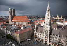 Munich Marienplatz at storm. Munich main square Marienplatz and Rathaus at day with amazing sun light stock photography