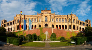 Munich Maximilianeum. The Maximilianeum building in Munich. Panoramic view over the palace that includes the parliament of Bavaria (Bayerischer Landtag Royalty Free Stock Image