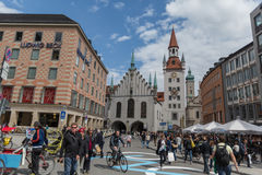 MUNICH - MAY 7, 2015: Munich, Old Town Hall with Tower, Bavaria, Germany Stock Images
