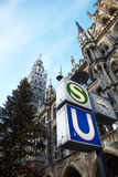 Munich Neues Rathaus. The Neues Rathaus in Munich, Germany, with the public transport symbols and a Christmas tree in front Royalty Free Stock Photography
