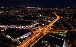 Munich night panoramic aerial cityscape view with bright lights Stock Photo