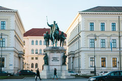 Munich, October 29, 2017: monumental statue of King Ludwig the First of Bavaria Royalty Free Stock Photography