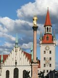 Munich Old Town. The old town hall and the column of St. Mary in Munich's Marienplatz Royalty Free Stock Photos