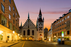 Munich Old Town Hall near Marienplatz town square at night in Mu Stock Image