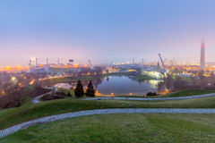 Munich. Olympic Park in the evening. Olympic Park in Munich in the evening illumination. Germany. Bavaria Royalty Free Stock Photo