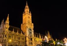 Munich på natten Arkivfoton
