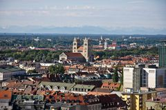 Munich panorama. From tower of church Royalty Free Stock Photo