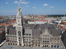 Munich panorama. Panorama view form Marienplatz, Munich downtown, Germany in the daylight royalty free stock image