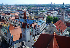 Munich Panorama. View over Munich from the tower of Saint Peter stock photos
