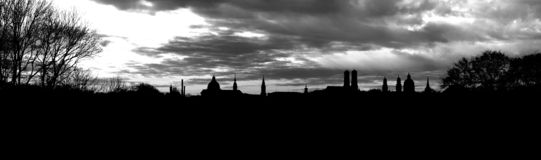 Munich Panorama. Panorama skyline at dusk of Munich Germany Royalty Free Stock Images