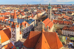 Munich Panorama with old city hall Royalty Free Stock Images