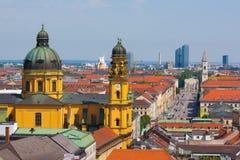 Munich Panorama.Theatine kyrka Royaltyfria Foton