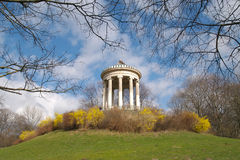 Munich Park Columns. This is looking up a hill in a downtown park in Munich Germany Royalty Free Stock Photography