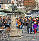 Munich, People at Viktualien Markt in city center. stock photo