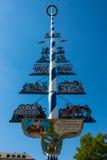 Munich purity law. Maypole with Munich purity law, Munich, Bavaria, Germany Stock Photo