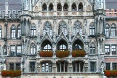 Munich Rathaus arkitektonisk detalj Arkivfoto