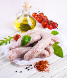 Munich sausages with tomatoes Royalty Free Stock Photos