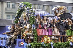 MUNICH - SEPTEMBER 17: Beer Parade at the traditional Oktoberfest Parade in Munich, Germany on September 17, 2016 in Munich German Royalty Free Stock Photo