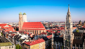Munich Skyline. The skyline of Munich of CBD with Marienplatz Royalty Free Stock Photography