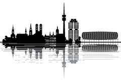 Munich skyline. Black and white  illustration Royalty Free Stock Images