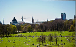 Munich skyline. Skyline of downtown Munich with Theatinerkirche and Frauenkirche Stock Images