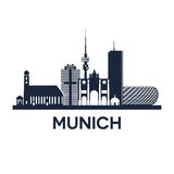 Munich Skyline Emblem. Abstract skyline of city Munich in Germany, vector illustration Royalty Free Stock Photo