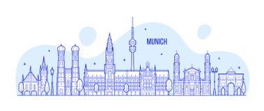Munich skyline, Germany city buildings vector Stock Photos