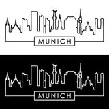 Munich skyline. Linear style. Editable vector file Royalty Free Stock Photo