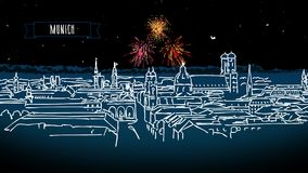 Munich Skyline by Night with Firework Intro Animation stock video footage
