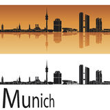 Munich skyline in orange background. In editable vector file Royalty Free Stock Images